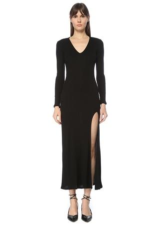 IRO Kadın Siyah Yırtmaçlı Maxi Elbise XS EU