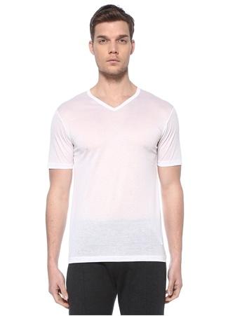 Zimmerli Erkek Beyaz V Yaka Basic T-shirt M EU male