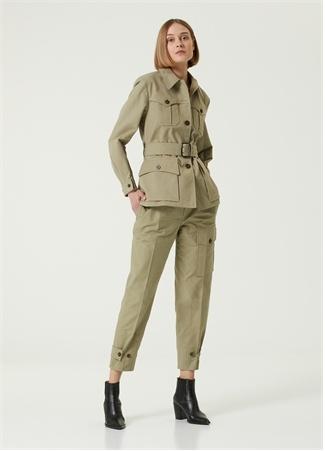 Chloe Kadın Açık Haki Kemerli Kanvas Ceket Yeşil 38 FR