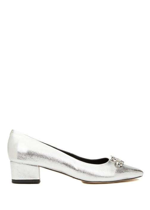 Silver Logo Tokalı Deri Topuklu Ayakkabı