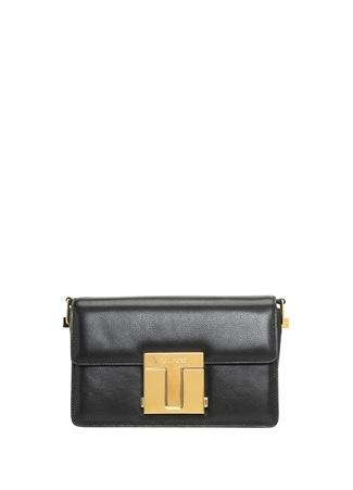 Tom Ford Kadın Siyah Gold Logolu Deri Omuz Çantası EU