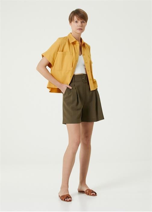 Sarı Polo Yaka Poplin Gömlek
