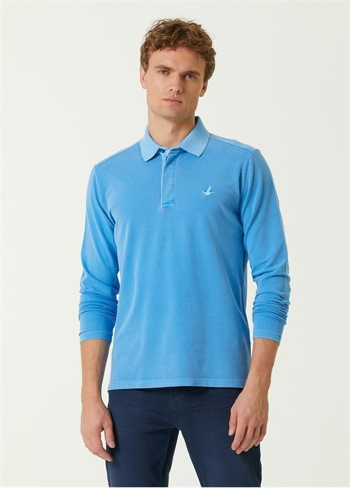 Comfort Fit Mavi Polo Yaka Uzun Kol T-shirt