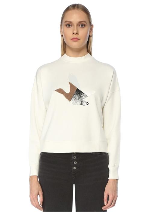 Beyaz Kuş Aplikeli Sweatshirt