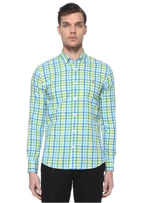 Slim Fit Yeşil Polo Yaka Ekose Desenli Gömlek