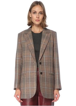 Beymen Collection Kadın Bej Ekose Desenli Yün Ceket 42