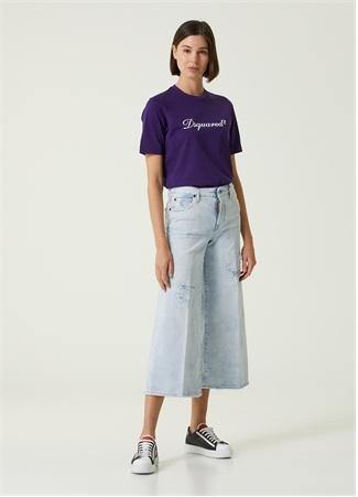 Dsquared2 Kadın Page Yıpratmalı Crop Jean Pantolon Mavi 36 IT