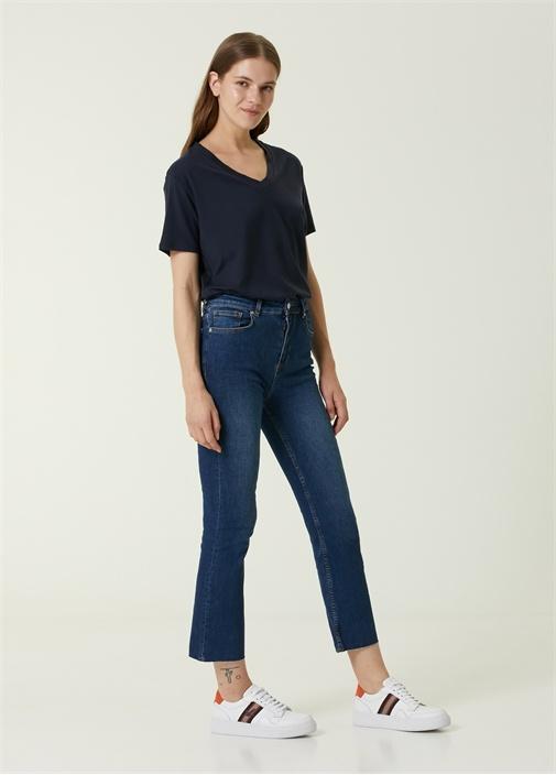 Cropped Flare Koyu Mavi Jean Pantolon