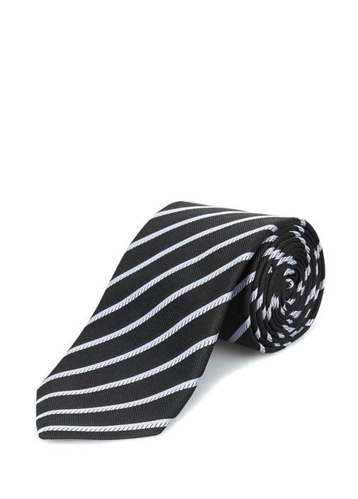 Lacivert Verev Çizgi Desenli İpek Kravat