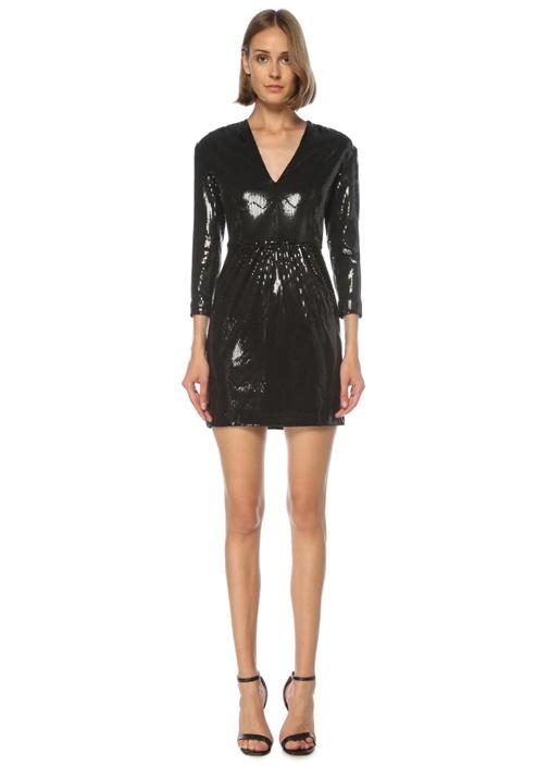 Siyah V Yaka İşlemeli Mini Kokteyl Elbise