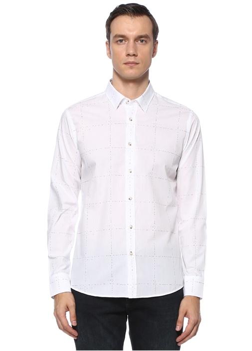 Slim Fit Beyaz Ekose Desenli Gömlek
