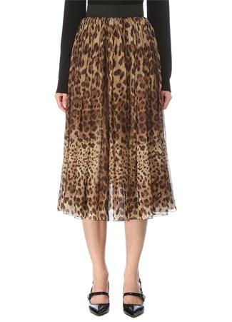 Dolce&Gabbana Kadın Leopar Desenli Pilili Midi İpek Etek Kahverengi 42 IT
