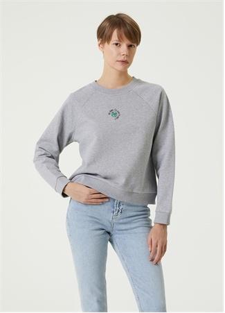 Beymen Club Kadın Gri Sustainable İşlemeli Sweatshirt S