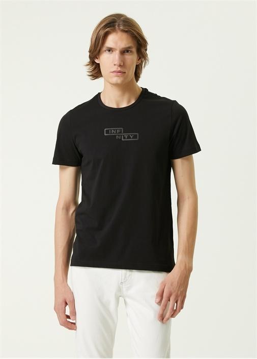 Siyah Reflektif Slogan Baskılı T-shirt