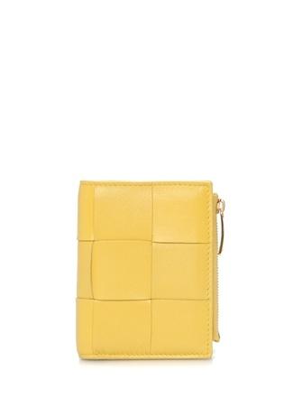 Bottega Veneta Kadın Mini Sarı Örgü Dokulu Deri Cüzdan EU