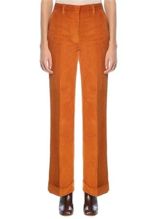 Victoria Beckham Kadın Turuncu Yüksek Bel Bol Paça Kadife Pantolon 8 US