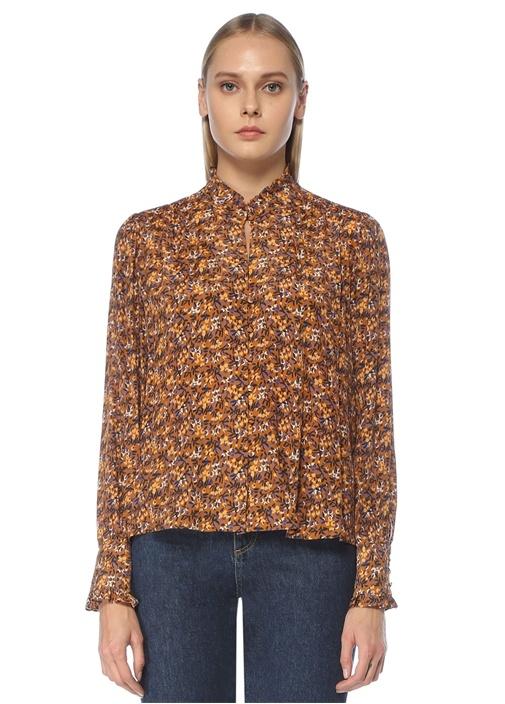 Hardal Dik Yaka Çiçekli Fırfırlı Gömlek