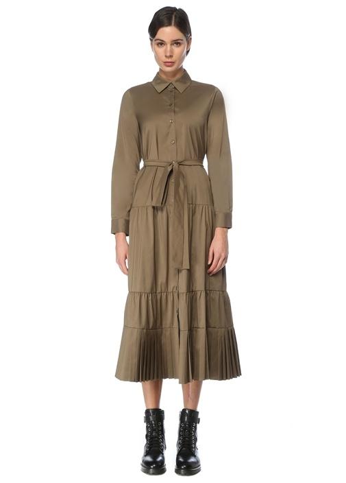 Haki Beli Kuşaklı Midi Tafta Gömlek Elbise