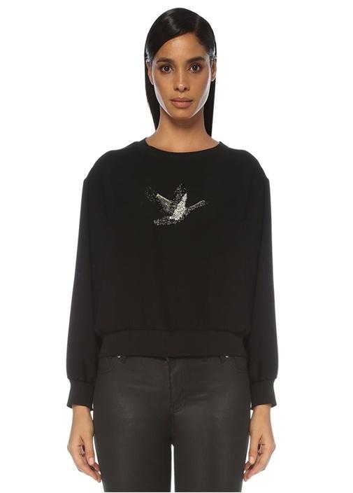 Siyah Kuş İşleme Detaylı Krep Bluz