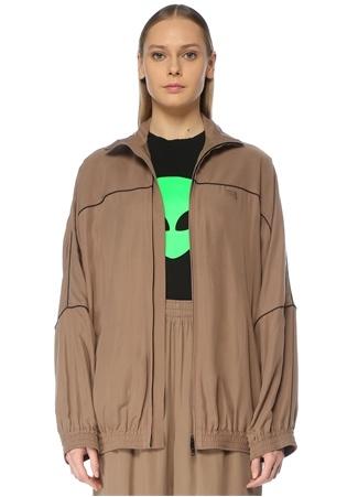 Balenciaga Kadın Kahverengi Dik Yaka Biyeli Ceket 36 IT