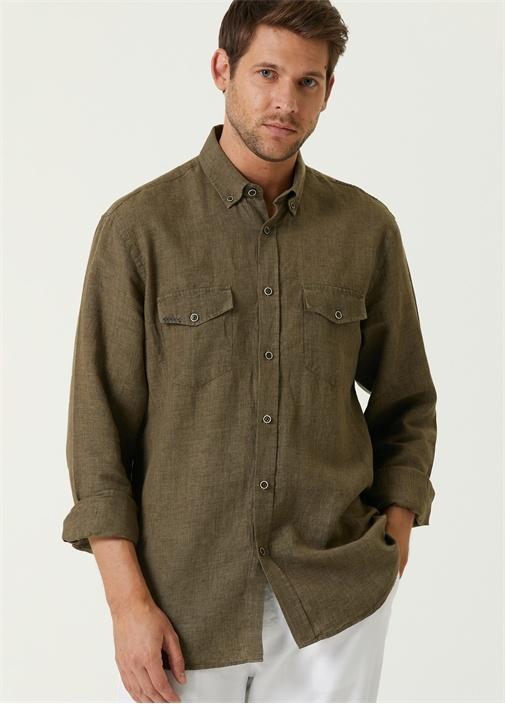 Comfort Fit Haki Düğmeli Yaka Gömlek