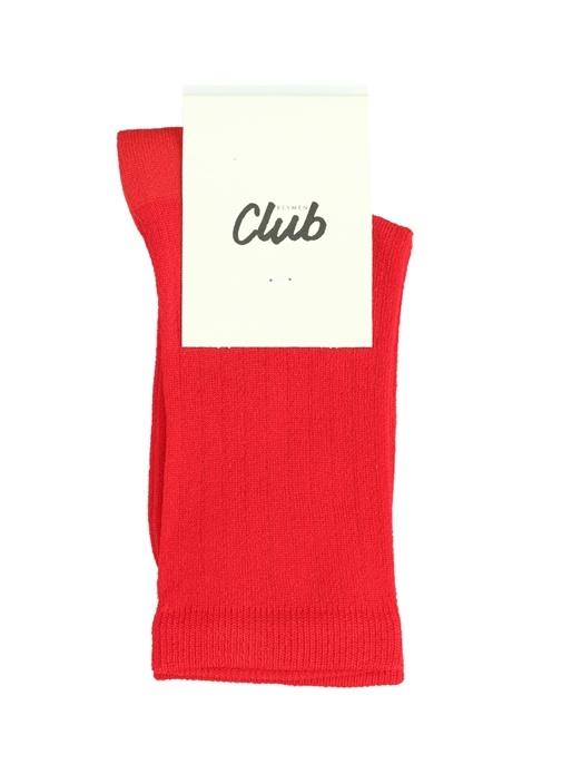 Kırmızı Ribli Logo Jakarlı Kadın Çorap