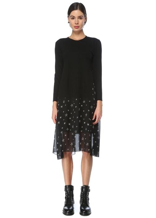 Siyah Desenli Şifon Garnili Midi Triko Elbise