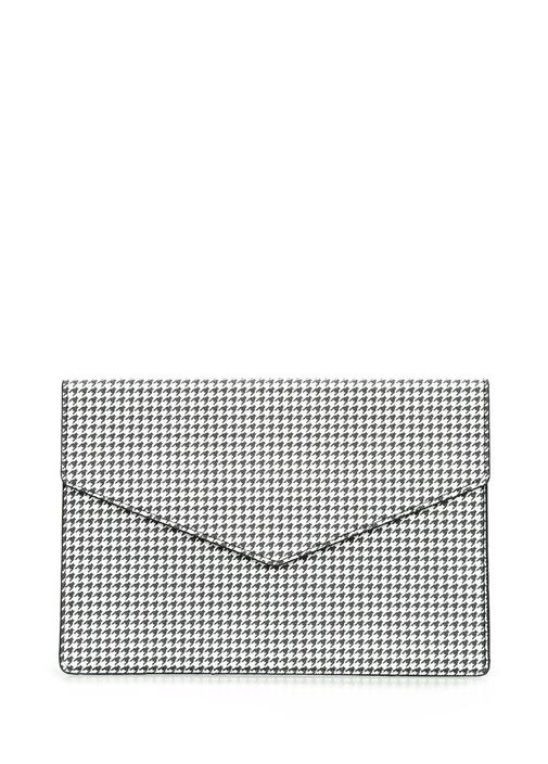 Siyah Beyaz Kazayağı Desenli Kadın El Çantası