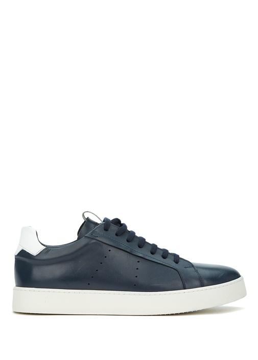 Lacivert Beyaz Erkek Deri Sneaker
