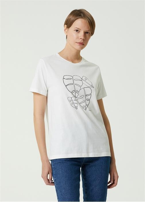 Beyaz Hotfix Tropik Yaprak Desenli T-shirt