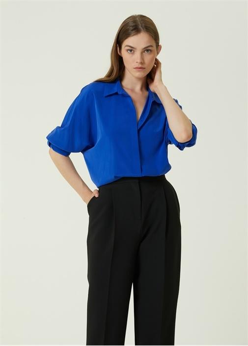 Mavi Bol İpek Gömlek