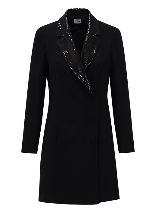 Siyah İşleme Detaylı Mini Kruvaze Ceket Elbise
