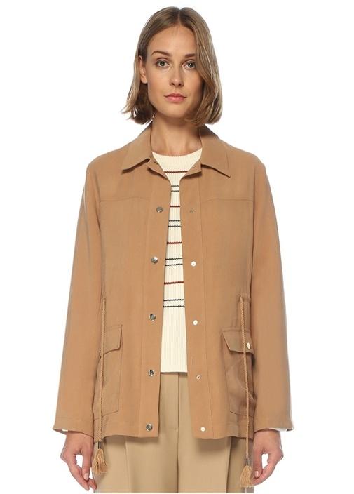 Kamel Beli Büzgülü Safari Ceket