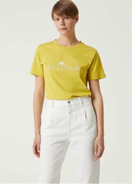 Sarı Taşlı Yazı Baskılı T-shirt