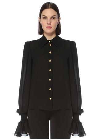 Balmain Kadın Siyah Manşet Detaylı İpek Gömlek 36 FR