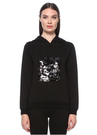 Network Kadın Siyah Kapüşonlu İşleme Detaylı Sweatshirt S EU